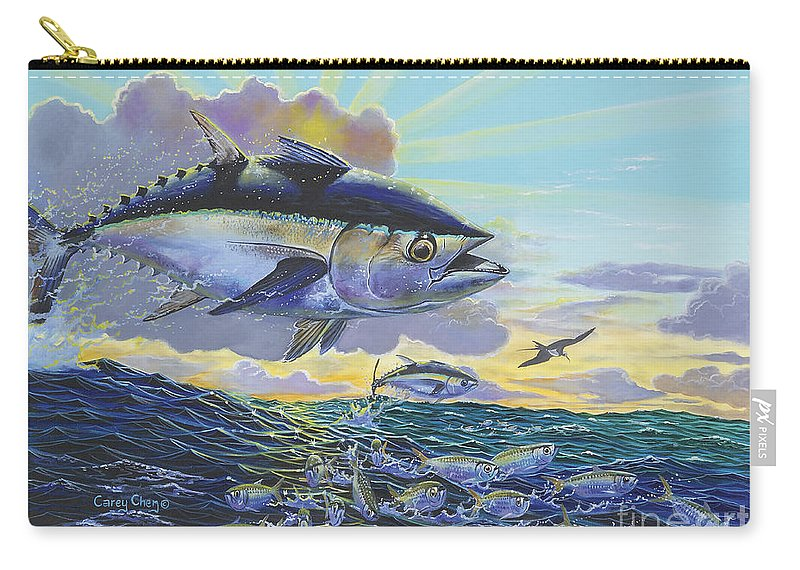 Blackfin Tuna Carry-all Pouch featuring the painting Blackfin Bust Off00116 by Carey Chen