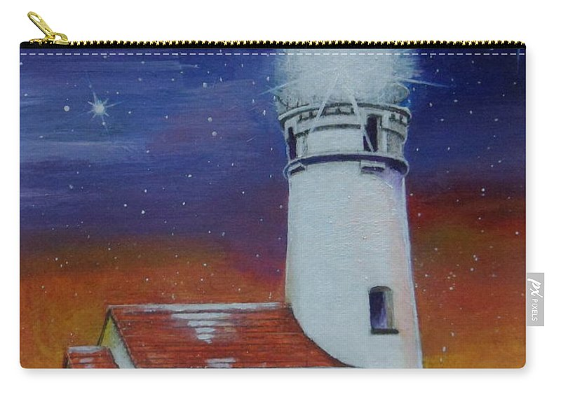 Ocean Carry-all Pouch featuring the painting Blanco Lighthouse by Thomas J Herring
