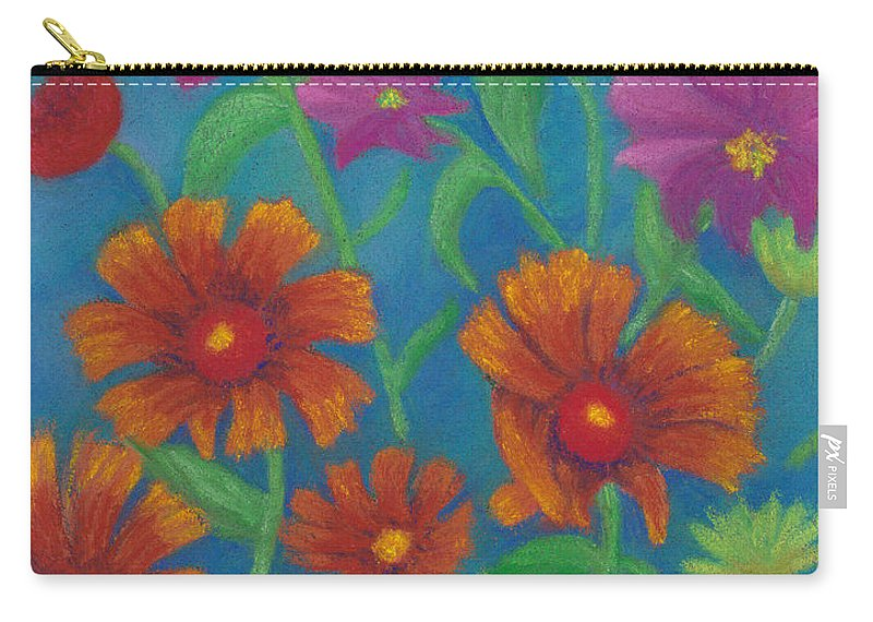 Flowers Carry-all Pouch featuring the pastel Blanket Flowers And Cosmos by Anne Katzeff