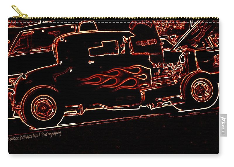 Classic Rods Carry-all Pouch featuring the digital art Blazing Out by Bobbee Rickard
