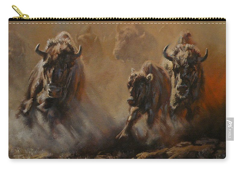 Buffalo Carry-all Pouch featuring the painting Blazing Thunder by Mia DeLode