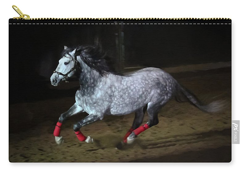 Freisian Carry-all Pouch featuring the photograph Blazzing Horse by Athena Mckinzie