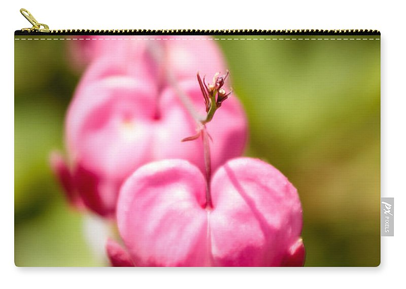 Laura Duhaime Photography Carry-all Pouch featuring the photograph Bleeding Heart Blossom by Laura Duhaime