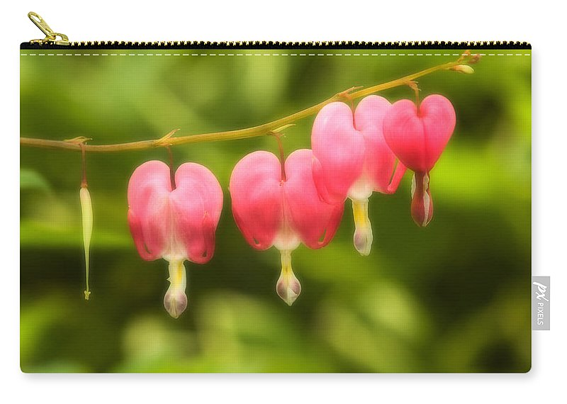 Flower Carry-all Pouch featuring the photograph Bleeding Hearts by Sebastian Musial