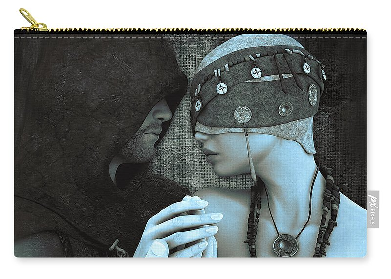 3d Carry-all Pouch featuring the digital art Blind Date by Jutta Maria Pusl