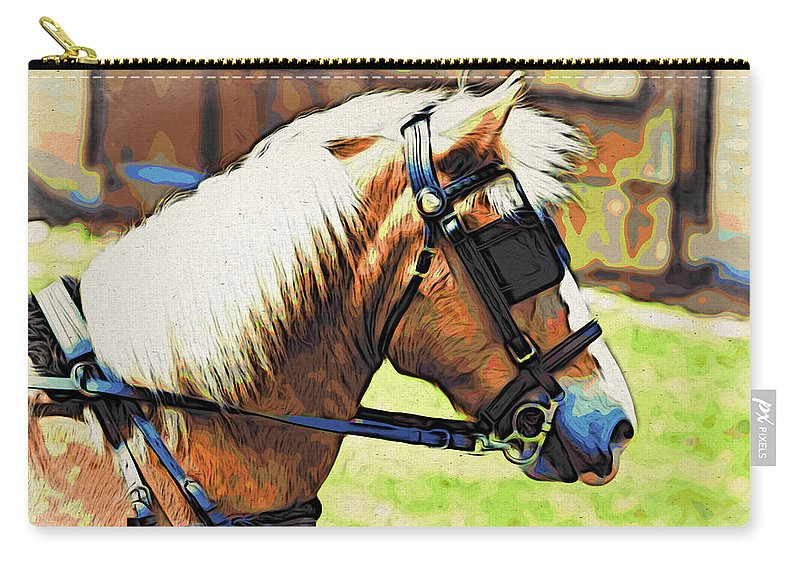 Horse In Blinders Carry-all Pouch featuring the photograph Blinders by Alice Gipson