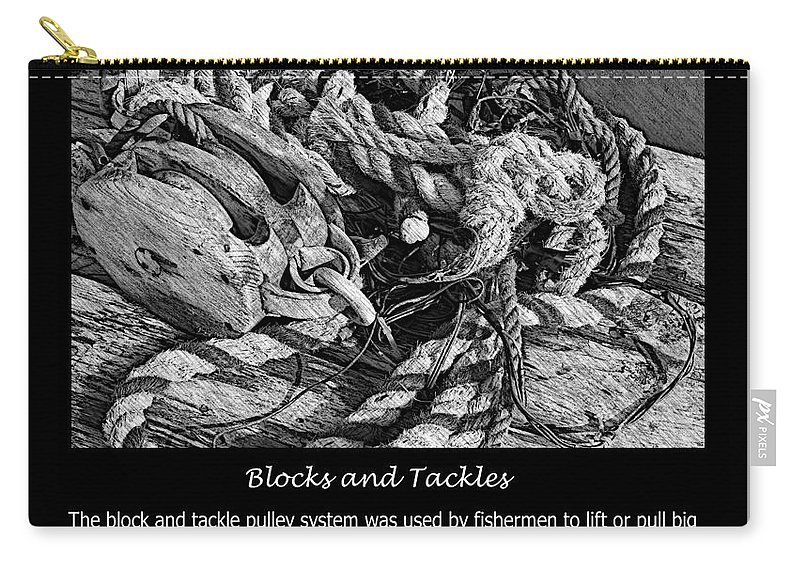 Blocks And Tackles Vintage Sketch Carry-all Pouch featuring the photograph Blocks And Tackles Vintage Sketch by Barbara Griffin