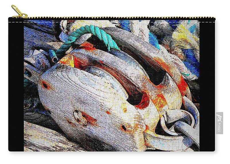 Blocks Tackles And Ropes Carry-all Pouch featuring the photograph Blocks Tackles And Ropes by Barbara Griffin