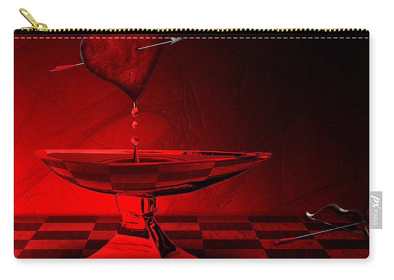 Heart Carry-all Pouch featuring the digital art Blood Of Love by Ma Bu