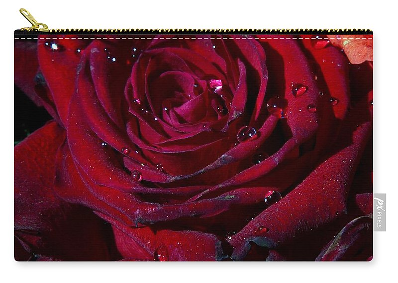 Red Rose Carry-all Pouch featuring the digital art Blood Red Rose by Linda Unger