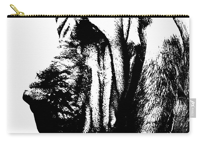 Bloodhound Carry-all Pouch featuring the painting Bloodhound - It's Black And White - By Sharon Cummings by Sharon Cummings