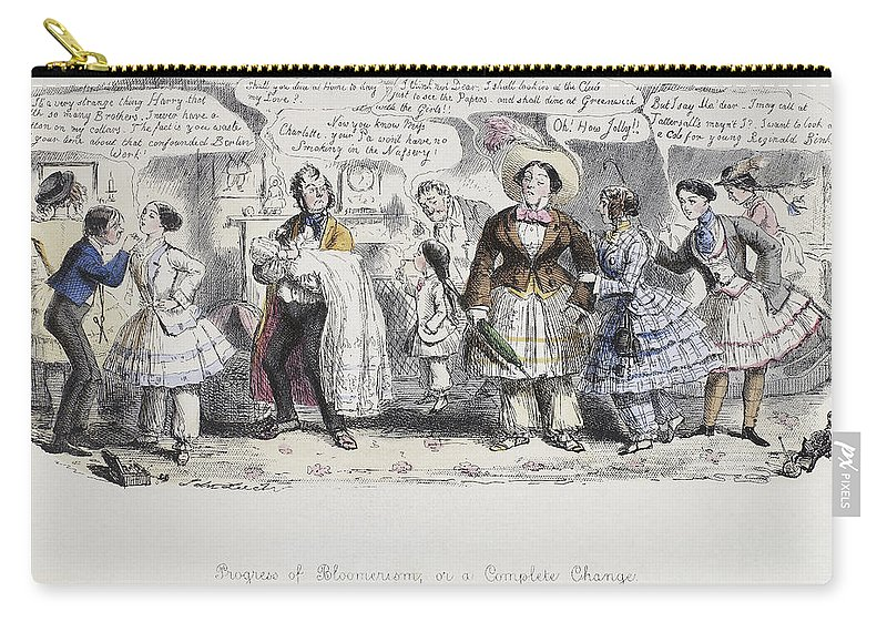 1851 Carry-all Pouch featuring the painting Bloomer Cartoon, C1851 by Granger