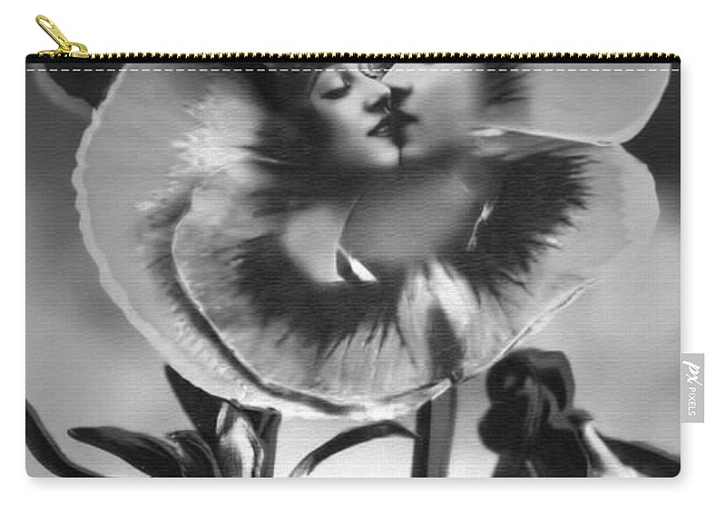 Pansy Carry-all Pouch featuring the photograph Bloomin' Kiss Vintage Art Bw by Lesa Fine