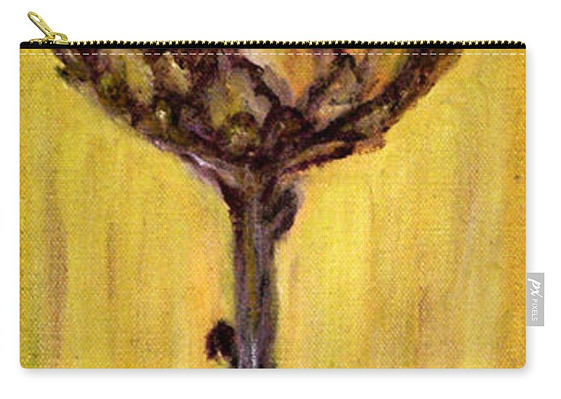 Augusta Stylianou Carry-all Pouch featuring the painting Blooming Artichoke - Cynara Cardunculus by Augusta Stylianou