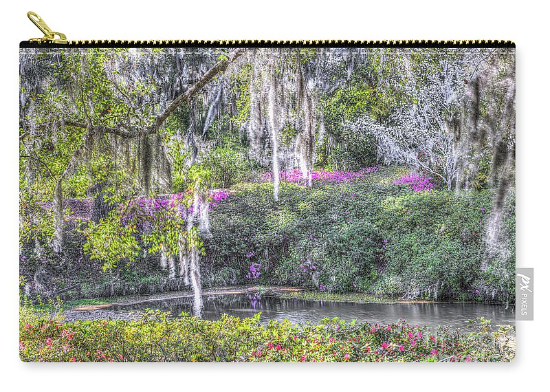 Pond Carry-all Pouch featuring the photograph Blooming Azaleias by Dale Powell
