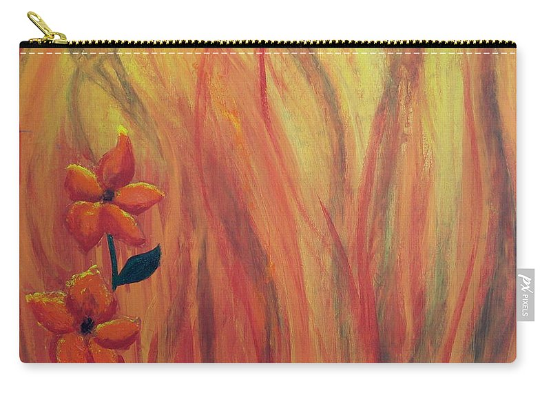 Carry-all Pouch featuring the painting Blooming In Hell 1 by Laurette Escobar