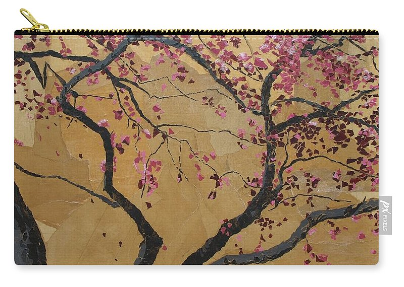 Tree Carry-all Pouch featuring the painting Blooming Prairie Fire by Leah Tomaino