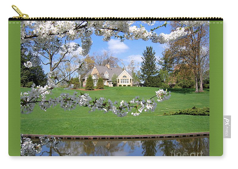 Spring Carry-all Pouch featuring the photograph Blossom-framed House by Ann Horn