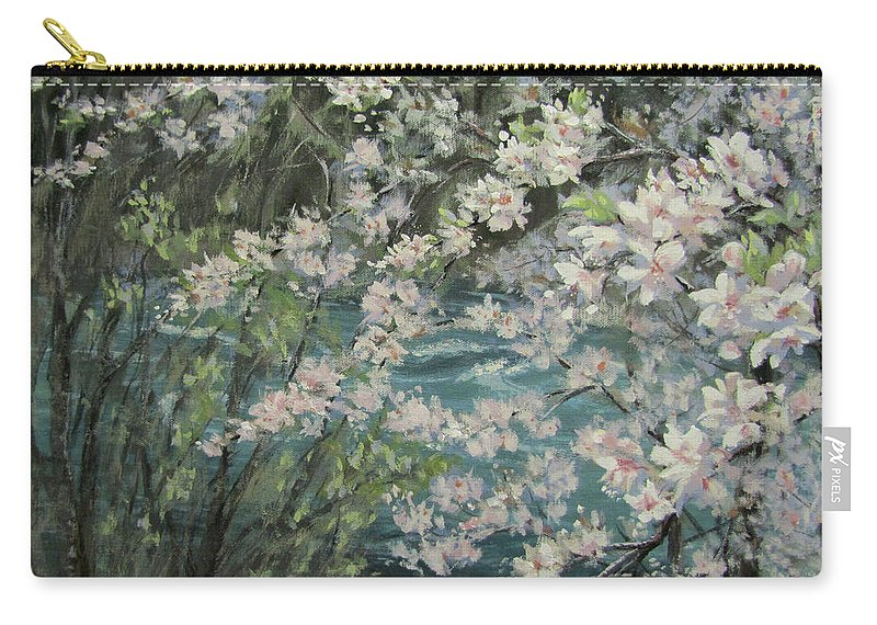 Spring Carry-all Pouch featuring the painting Blossoming River by Karen Ilari