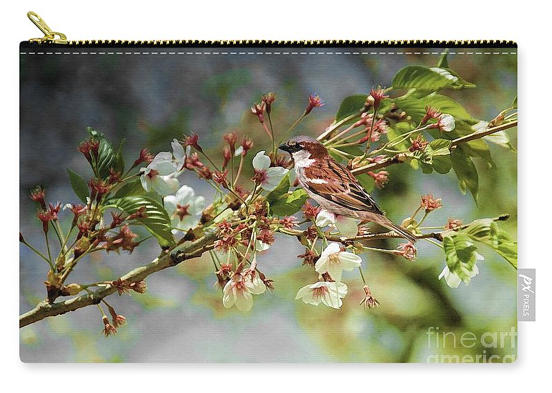 Bird Carry-all Pouch featuring the photograph Blossoms And Sparrow by Elaine Manley