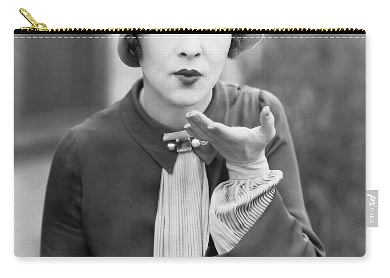 1920 Carry-all Pouch featuring the photograph Blowing A Kiss by Underwood Archives
