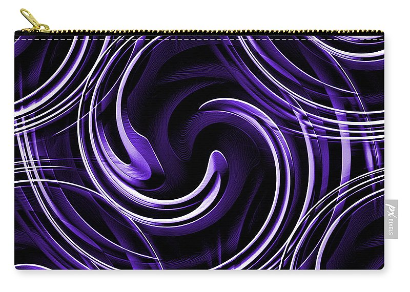 Blue Carry-all Pouch featuring the digital art Blue 3d Swirls by Ron Hedges