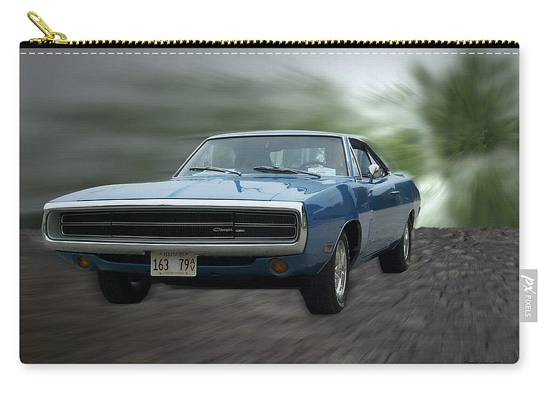 Hot Rod Carry-all Pouch featuring the photograph Blue 70 Charger by Thomas Woolworth
