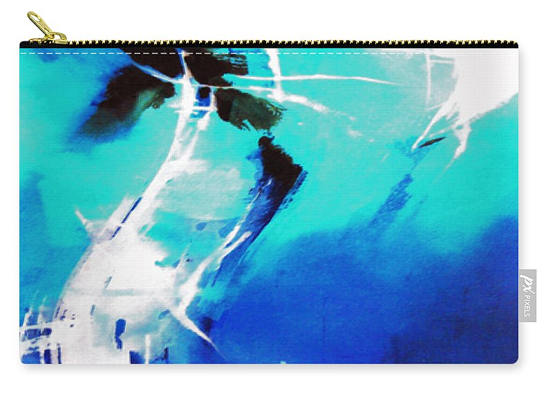Abstract Carry-all Pouch featuring the painting Blue Abstract by Anil Nene