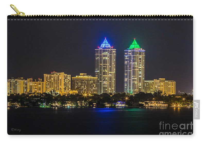 Blue And Green Diamond Twin Towers Carry-all Pouch featuring the photograph Blue And Green Diamond Twin Towers by Rene Triay Photography
