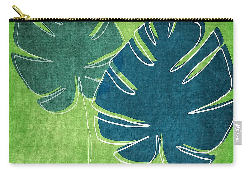 Palm Tree Carry-all Pouch featuring the painting Blue and Green Palm Leaves by Linda Woods