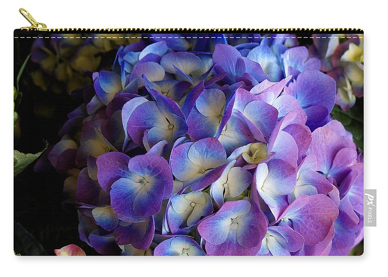 Hydrangeas Carry-all Pouch featuring the photograph Blue And Purple Hydrangeas by Scott Hill