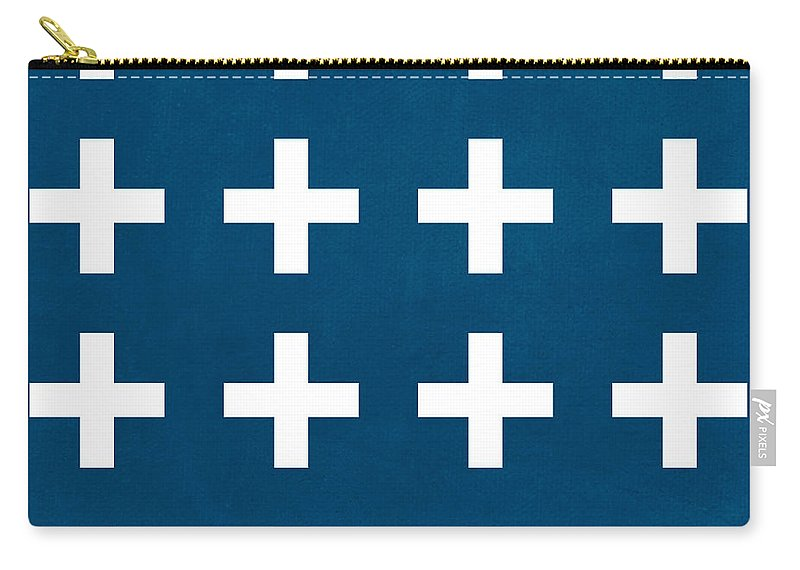 Blue Carry-all Pouch featuring the painting Blue And White Plus Sign by Linda Woods