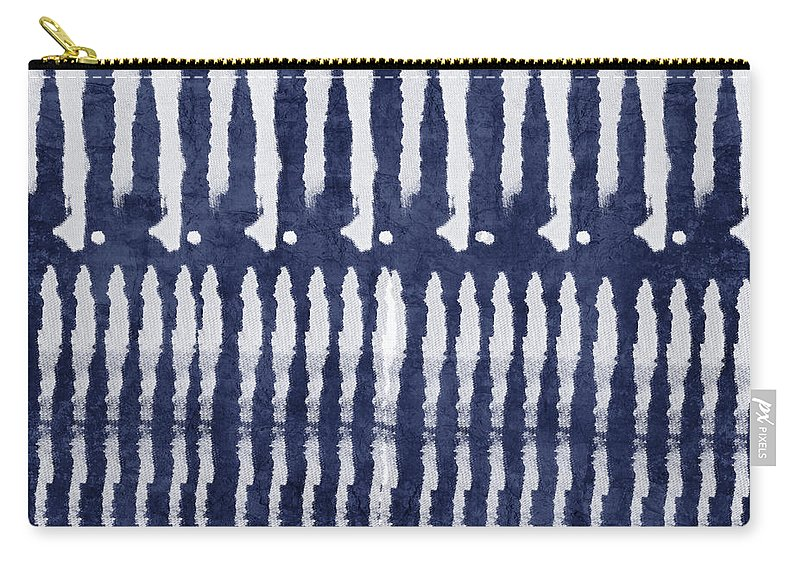 Blue Carry-all Pouch featuring the painting Blue and White Shibori Design by Linda Woods