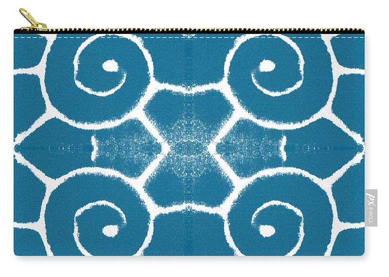 Wave Carry-all Pouch featuring the painting Blue and White Wave Tile- abstract art by Linda Woods