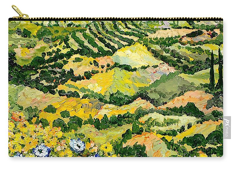 Landscape Carry-all Pouch featuring the painting Blue And Yellow by Allan P Friedlander