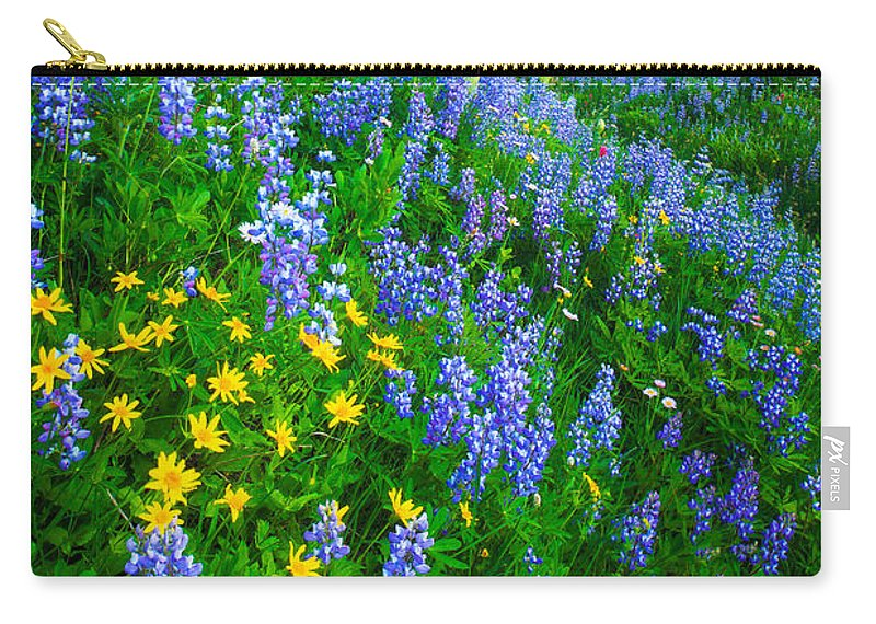 America Carry-all Pouch featuring the photograph Blue And Yellow Hillside by Inge Johnsson
