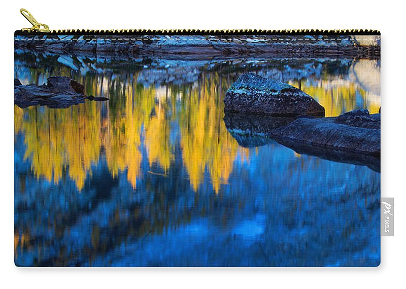 Alpine Lakes Wilderness Carry-all Pouch featuring the photograph Blue And Yellow by Inge Johnsson