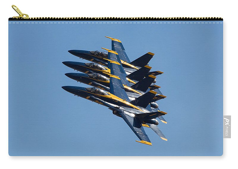 Blue Carry-all Pouch featuring the photograph Blue Angels Line Abreast by John Daly