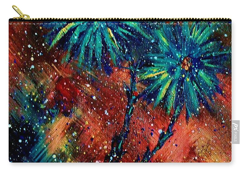 Flowers Carry-all Pouch featuring the painting Blue Asters by Robin Monroe