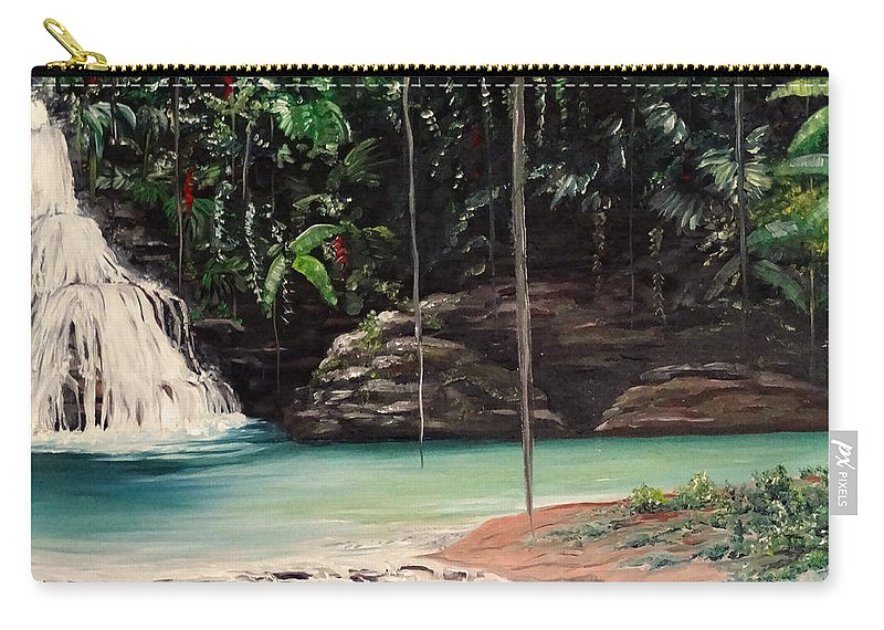 Tropical Waterfall Carry-all Pouch featuring the painting Blue Basin by Karin Dawn Kelshall- Best