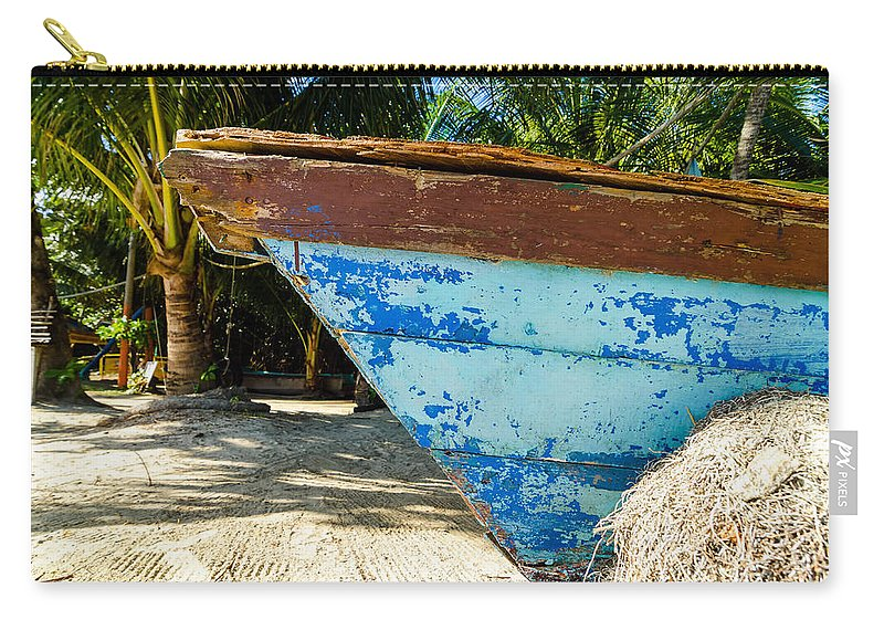 Boats Carry-all Pouch featuring the photograph Blue Beached Canoe by Jess Kraft