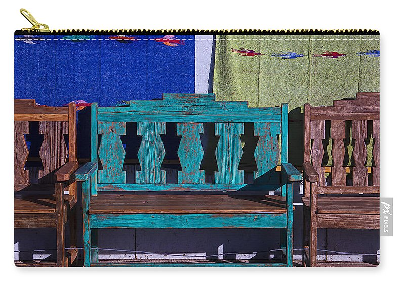 Blue Carry-all Pouch featuring the photograph Blue Bench by Garry Gay