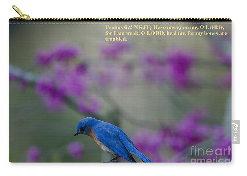 Blue Bird Carry-all Pouch featuring the photograph Blue Bird Praying by Dale Powell