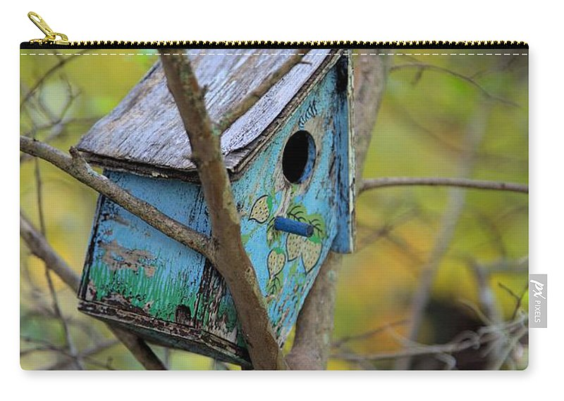 2872 Carry-all Pouch featuring the photograph Blue Birdhouse by Gordon Elwell