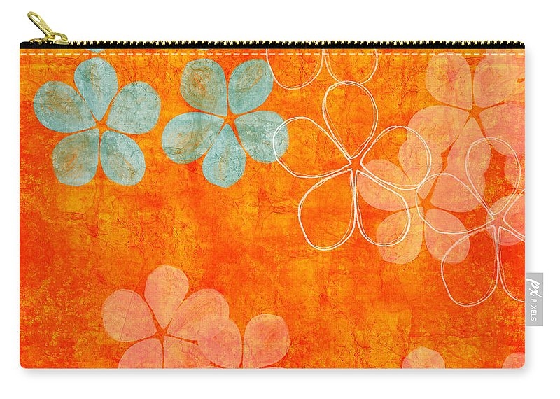 Abstract Carry-all Pouch featuring the painting Blue Blossom On Orange by Linda Woods