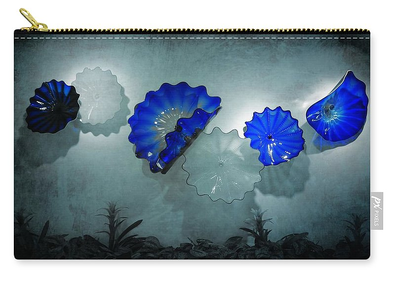Blue Blown Glass Shadows Carry-all Pouch featuring the photograph Blue Blown Glass Shadows by Dan Sproul