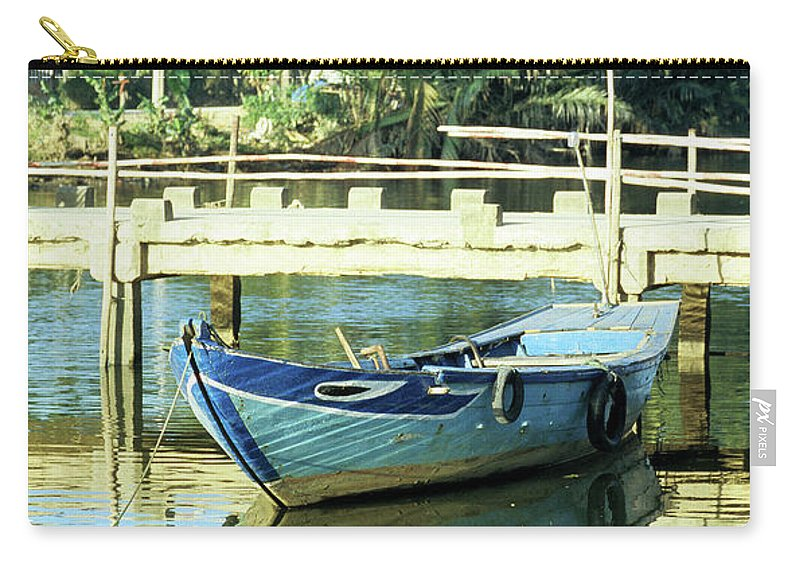 Vietnam Carry-all Pouch featuring the photograph Blue Boat 02 by Rick Piper Photography