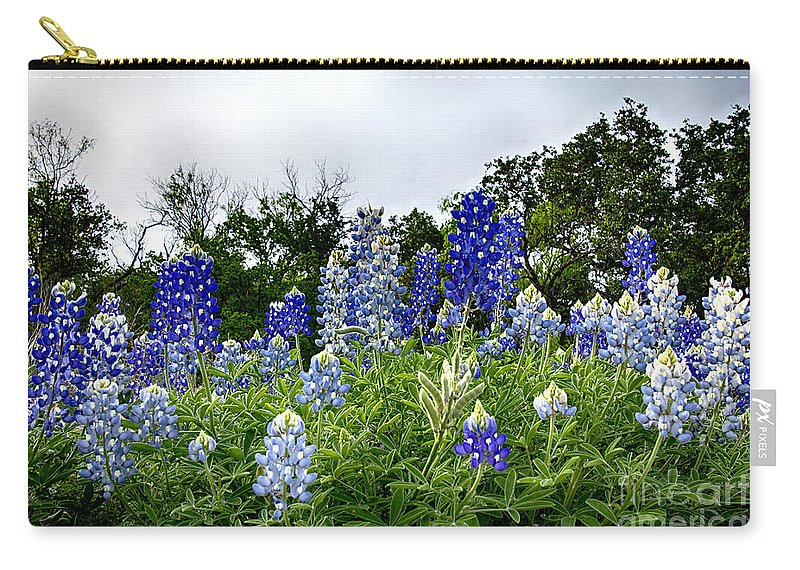 Wildflowers Carry-all Pouch featuring the photograph Blue Bonnet Carpet V9 by Douglas Barnard