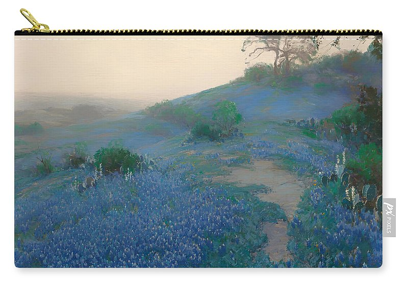 San Antonio Carry-all Pouch featuring the painting Blue Bonnet Field In San Antonio by Mountain Dreams