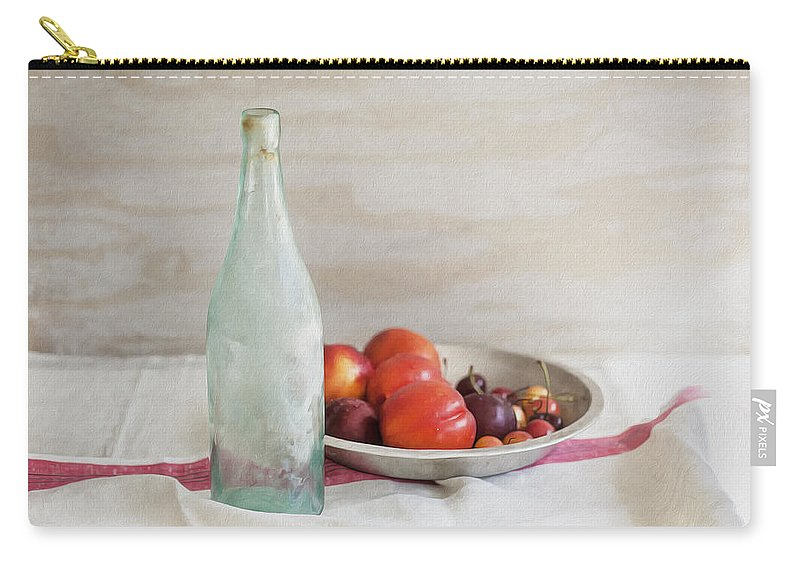 Blue Bottle Carry-all Pouch featuring the photograph Blue Bottle And Fresh Fruit by Rich Franco